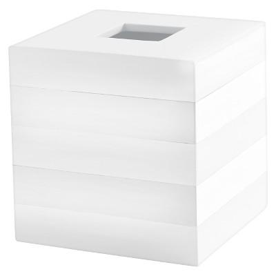 Lacquer Stripe Tissue Holder White - Cassadecor