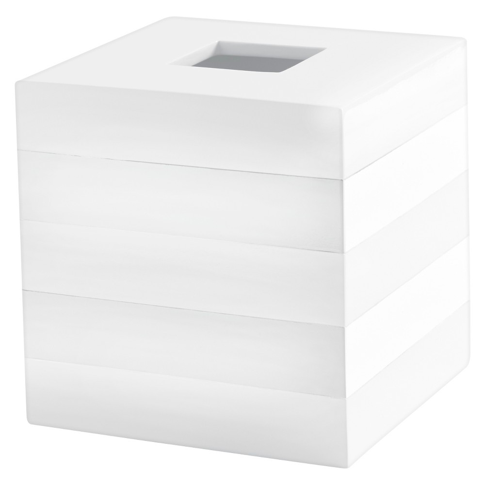 "Image of ""Lacquer Stripe Tissue Holder White - Cassadecor, Size: 7.4"""" (H) x 7.3"""" (W) x 7.3"""" (D)"""