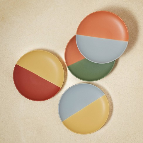 """6"""" 4pk Stoneware Two-Tone Appetizer Plates - Opalhouse™ designed with Jungalow™ - image 1 of 4"""