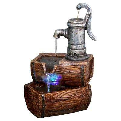 Alpine Corporation 2-Tier Water Pump Barrel Fountain with LED Light - Multi Color