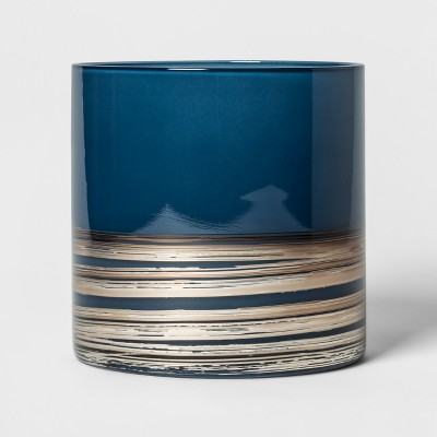 Candle Holder Glass Hurricane Small - Blue - Threshold™