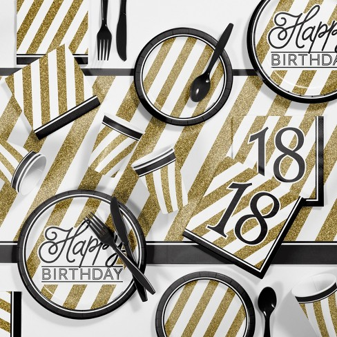 Black And Gold 18th Birthday Party Supplies Kit