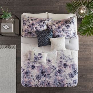 7pc King Slade Cotton Printed Comforter Set Purple