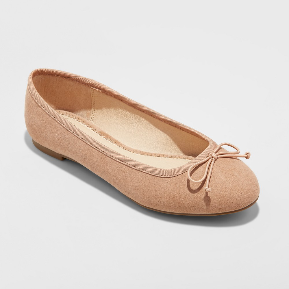 Women's Wide Width Hope Elastic Band Round Toe Mary Jane Ballet Flats - A New Day Pecan 5.5W, Size: 5.5 Wide