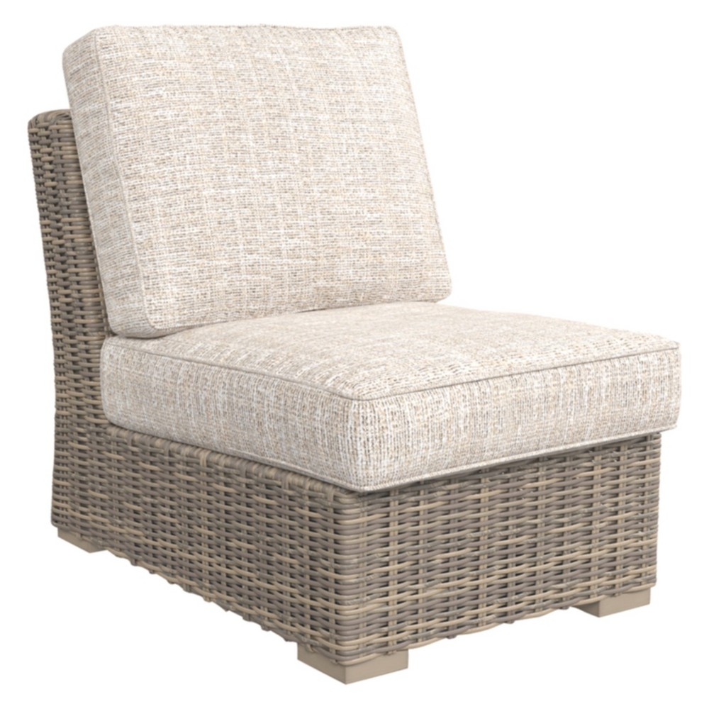 Image of Beachcroft Armless Chair with Cushion - Beige - Outdoor by Ashley
