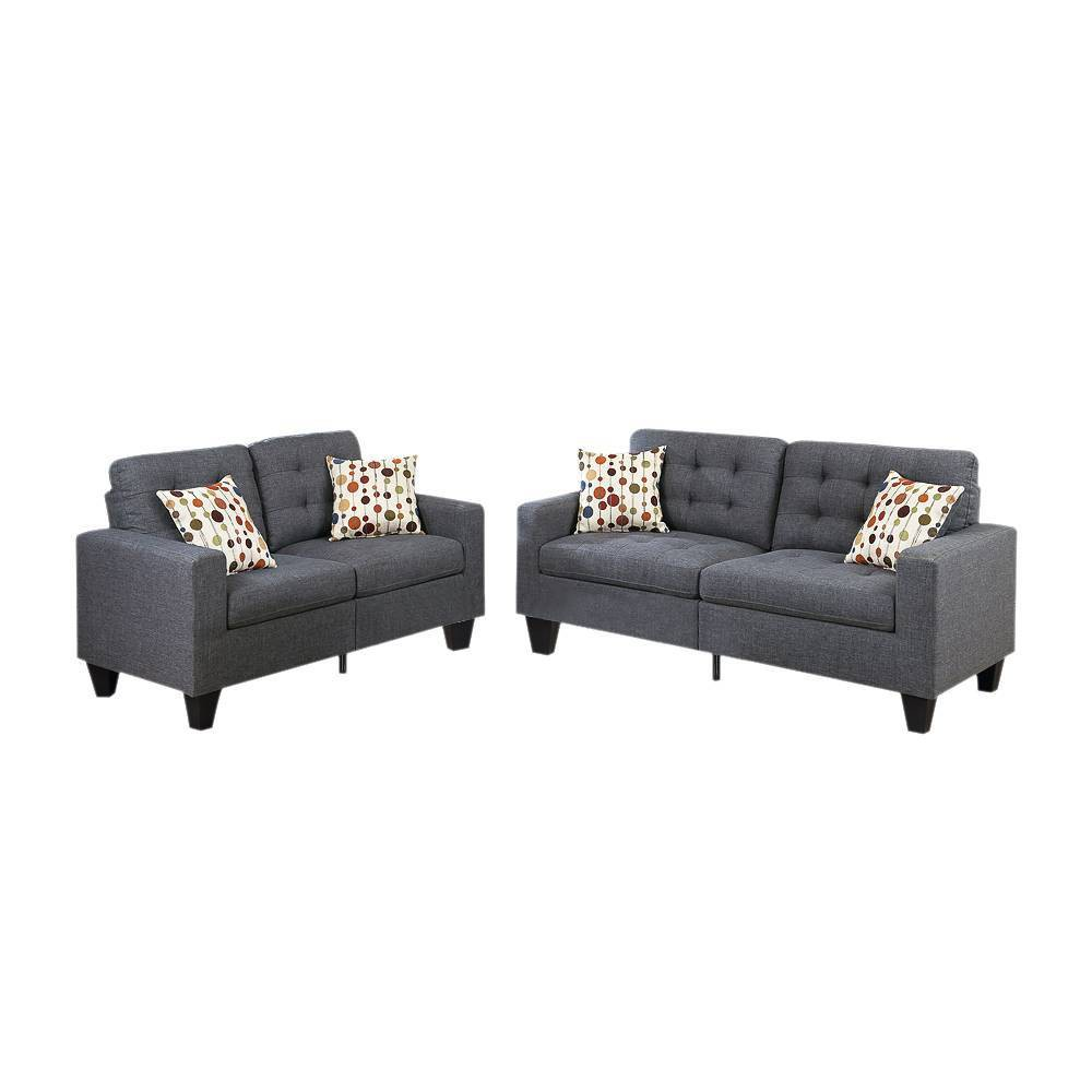 Image of 2pc Linen Fabric Sofa Set Gray - Benzara