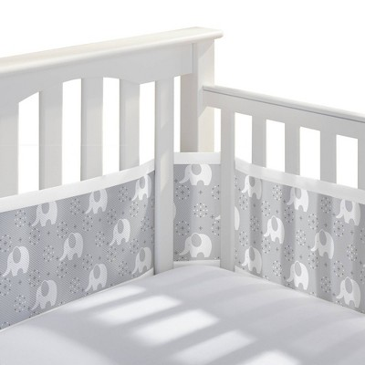 Breathable Baby Classic Breathable Mesh Crib Liner - Peaceful Elephant Gray