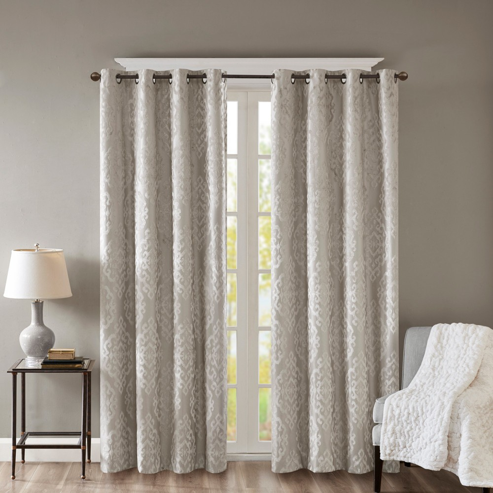 "Image of ""Azalea Knitted Jacquard Total Blackout Panel Gray 50x84"""", Size: 50""""x84"""""""