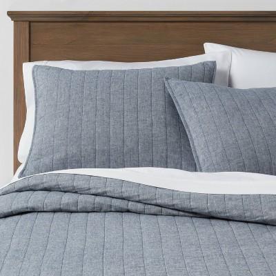 Blue Chambray Linen Blend Quilt (Full/Queen)- Threshold™