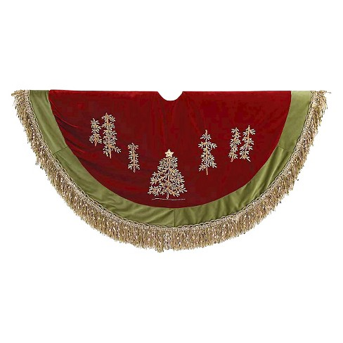 "50"" Burgundy Ribbon with Green Tassel Border Decorative Tree Skirt - image 1 of 1"