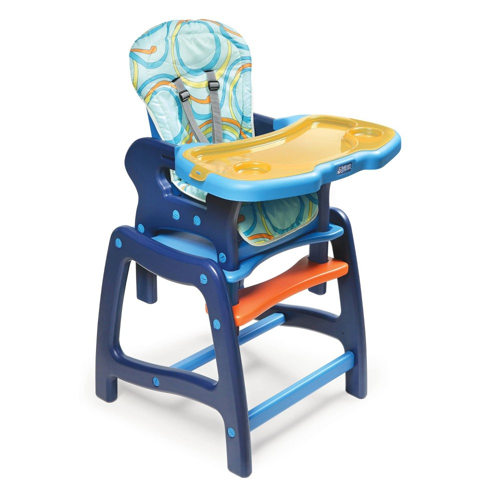 Image of Badger Basket Baby High Chair with Playtable Conversion, Blue & Orange