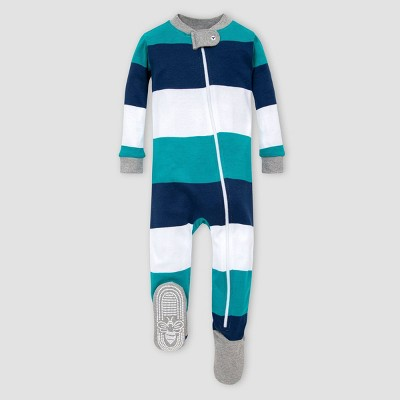 Burt's Bees Baby® Baby Boys' Striped Rugby Organic Cotton Footed Pajama - Blue 3-6M