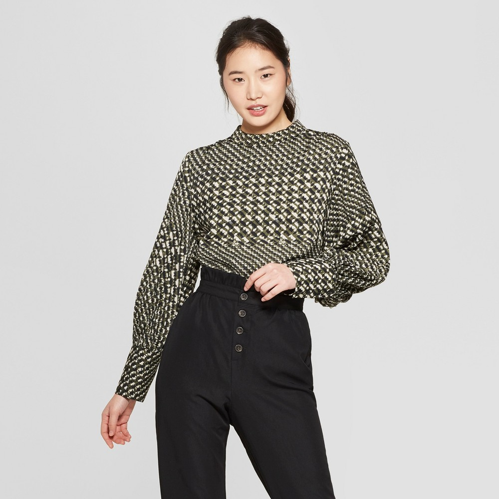 Women's Houndstooth Long Sleeve Relaxed Silky Blouse - Who What Wear Black/Cream XL, Black/Cream Houndstooth