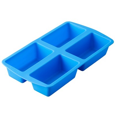 Wilton 4 Cavity Easy Flex Silicone Mini Loaf Pan for Bread, Cakes and Meatloaf