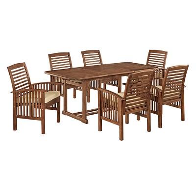 7pc Acacia Patio Dining Set with Cushions - Dark Brown - Saracina Home