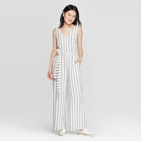 Women's Striped Sleeveless V-Neck Jumpsuit - A New Day™ Cream - image 1 of 9