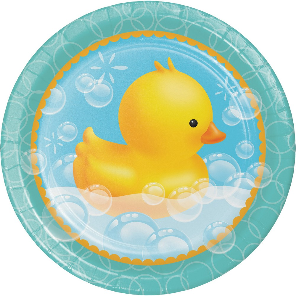 Image of 24ct Rubber Duck Bubble Bath Paper Plates Yellow