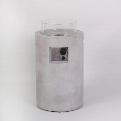 Pipestone 29  Round Concrete Look Fire Column - Gray - Project 62™