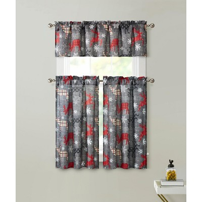 Kate Aurora Complete Plaid Christmas Reindeers Snowflakes 3 Pc Kitchen Curtain Tier And Valance Set - 56 in. W x 36 in. L