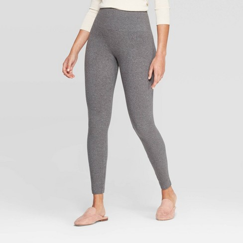 Women's Seamless High Waist Fleece Lined Leggings - A New Day™ Heather Gray - image 1 of 2