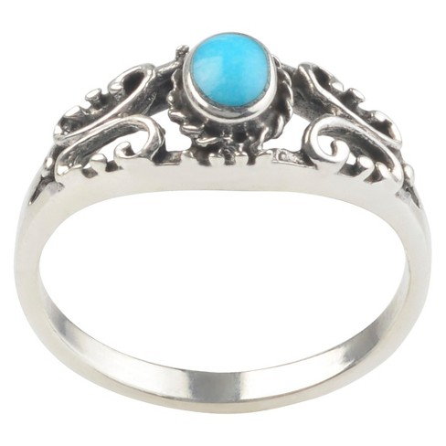 1/4 CT. T.W. Oval-cut Turquoise Scroll Accent Bezel Set Ring in Sterling Silver - Blue - image 1 of 2