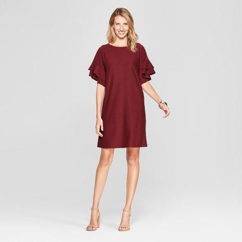 4e3054a65f1ed Women s Ruffle Sleeve Clipspot Swing Dress - Spenser Jeremy - Burgundy