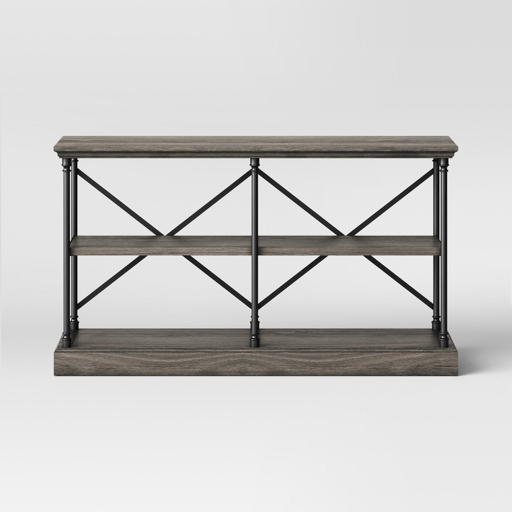 60 Conway Cast Iron Horizontal Bookcase Wood - Threshold