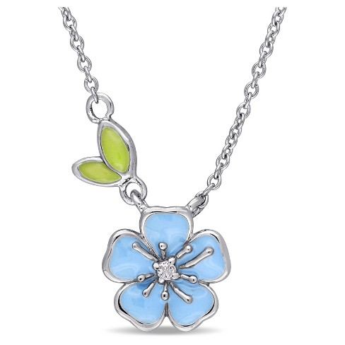 """Children's Enamel Flower Necklace with White Topaz Sterling Silver - (15"""") - image 1 of 2"""