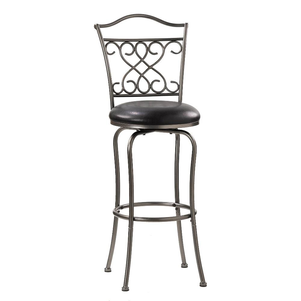 24 34 Wayland Swivel Counter Height Barstool Pewter Black Hillsdale Furniture