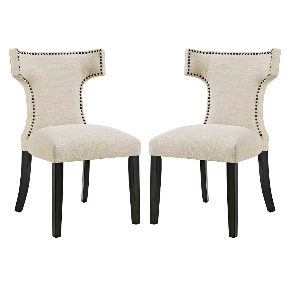 Curve Dining Side Chair Fabric Set of 2 Beige - Modway