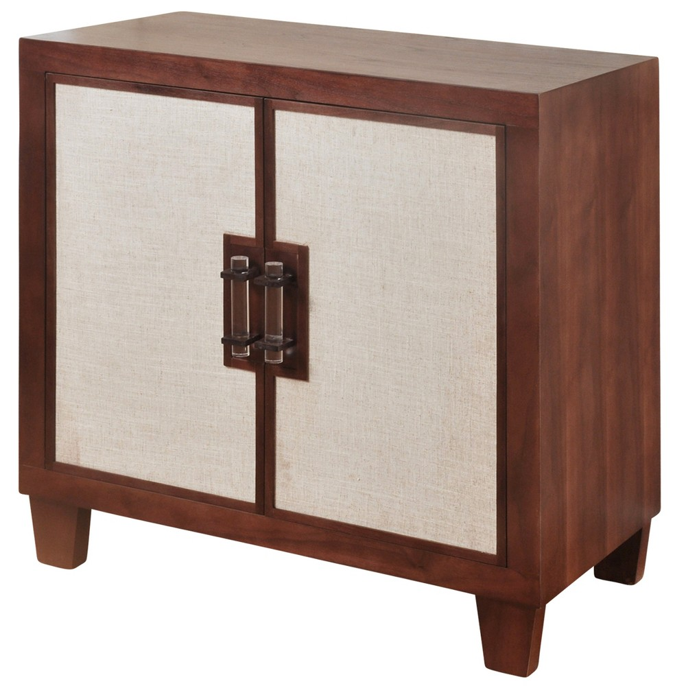 Image of 2 Door Cabinet with Beige Linen Door Panels Walnut - Stylecraft, Brown