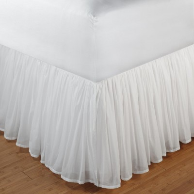 """Greenland Home Fashion Cotton Voile Bed Skirt 18"""", White"""