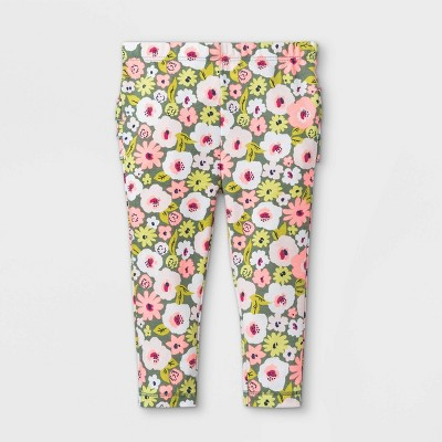 Baby Girls' Floral Ruffle Bum Leggings - Cat & Jack™ Light Olive 0-3M