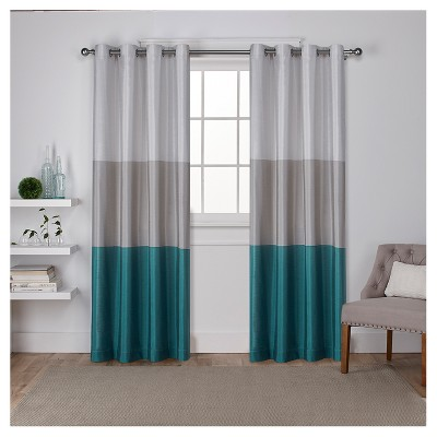 """Set of 2 84""""x54"""" Chateau Striped Faux Silk Grommet Top Window Curtain Panel Teal - Exclusive Home"""