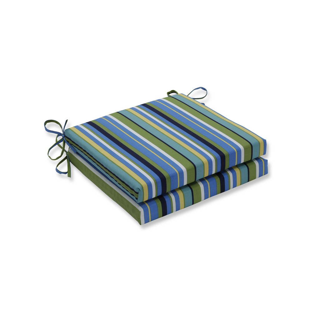 Indoor/Outdoor 2pc Topanga Stripe Lagoon Squared Corners Seat Cushion - Pillow Perfect, Blue