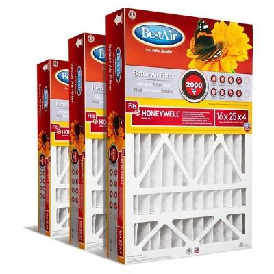BestAir 3pk Honeywell 16X25X4 Replacement Air Furnace Filter Merv 11
