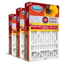 BestAir 3pk Honeywell 16X25X4 Replacement Air Furnace Filter Merv 11