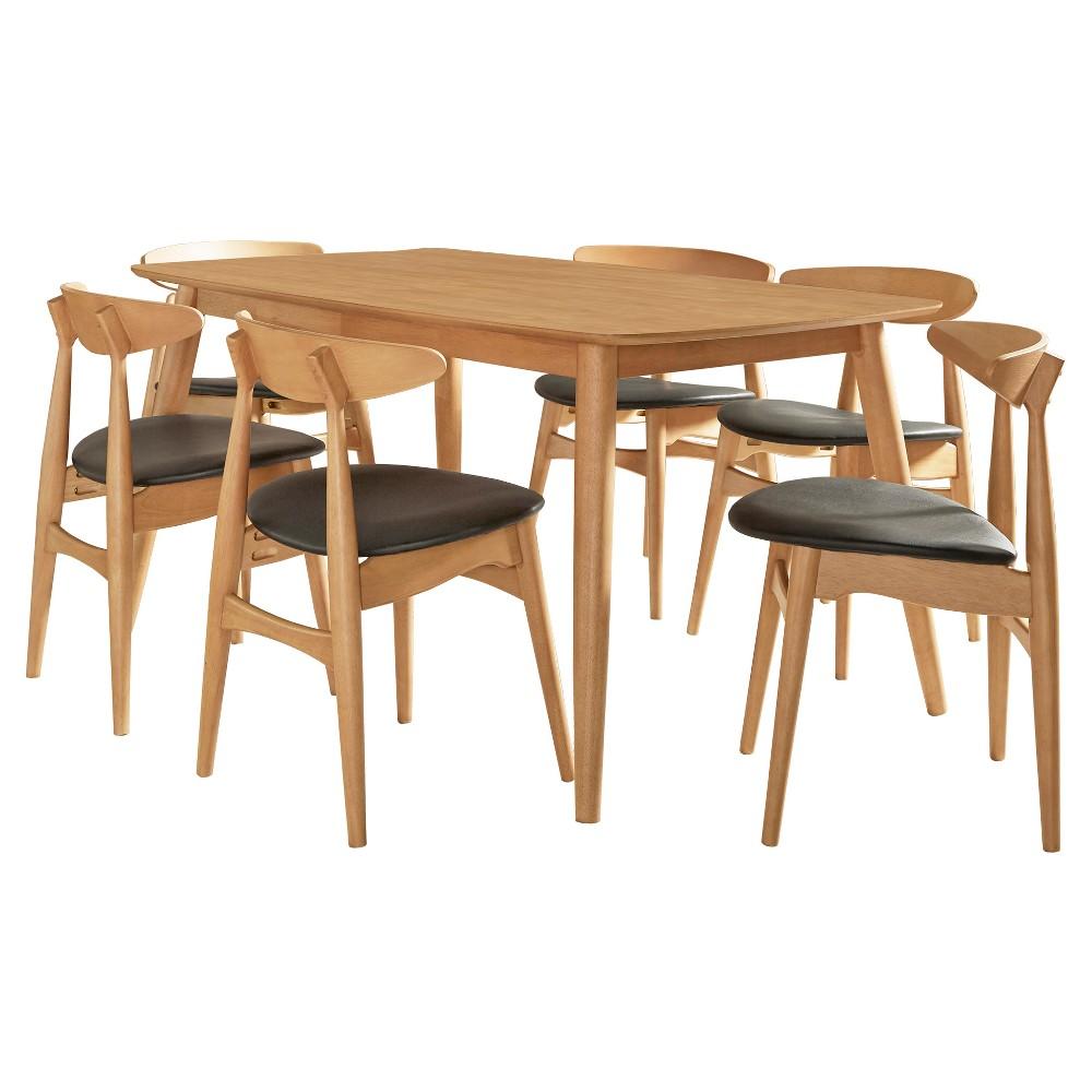 Cortland Danish Modern Natural 7-Piece 66 Dining Set - Natural / Black - Inspire Q