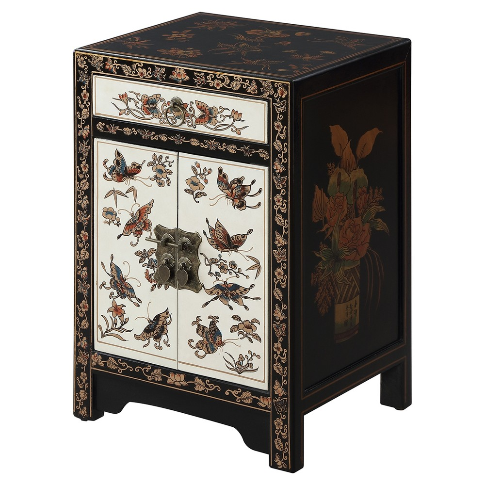 Touch of Asia 1 Drawer Cabinet End Table - Black / Gold (Black/Gold) - Convenience Concepts