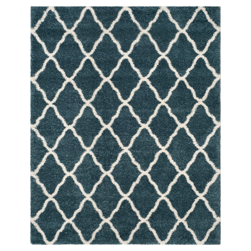 Slate Blue/Ivory Geometric Shag/Flokati Loomed Area Rug - (8'X10') - Safavieh
