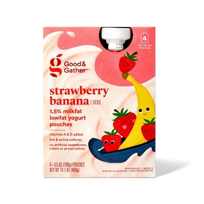 Strawberry Banana Lowfat Kids' Yogurt Pouches - 4pk/3.5oz - Good & Gather™