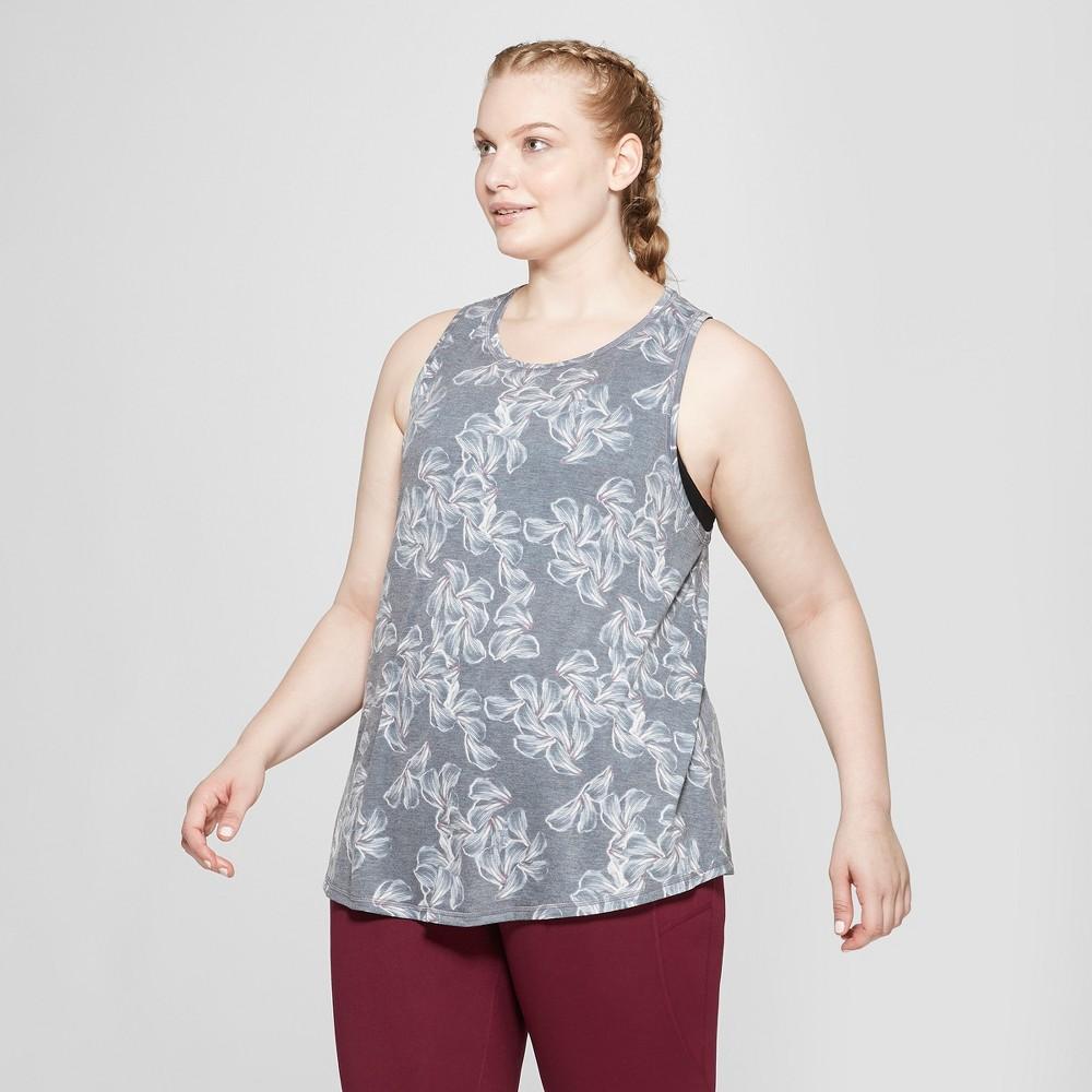 Women's Plus Size Floral Print Active Tank Top - C9 Champion Gray 2X