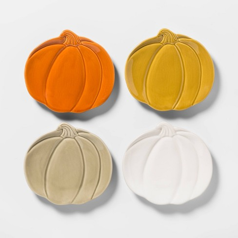 "7"" 4pk Stoneware Pumpkin Appetizer Plates - Threshold™ - image 1 of 2"