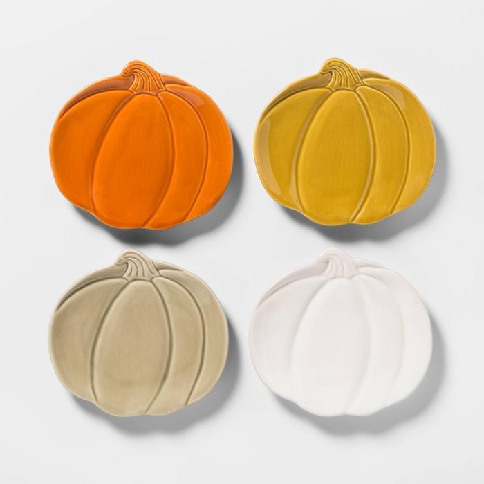 "7"" 4pk Stoneware Pumpkin Appetizer Plates - Threshold™ - image 1 of 2"