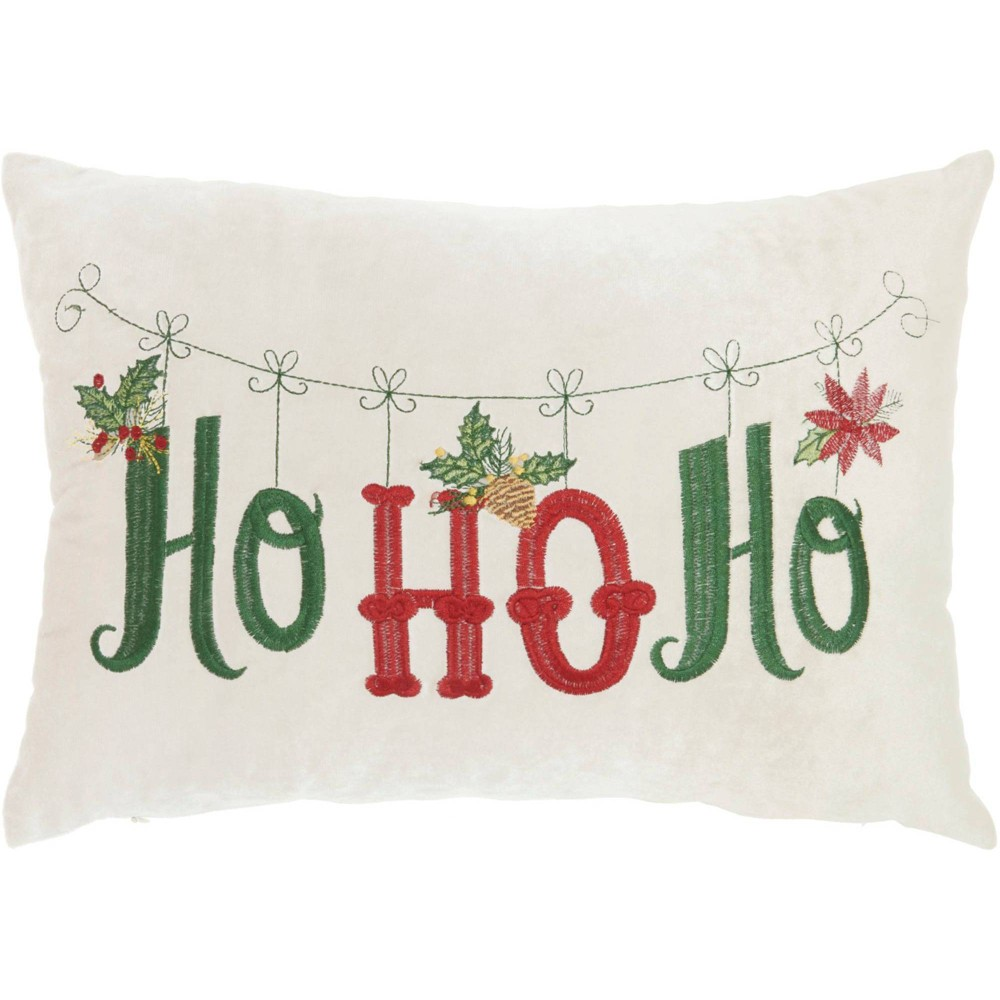 """Image of """"Embroidered """"""""Ho Ho Ho"""""""" Beige Christmas Throw Pillow -Nourison, Beige Green Red"""""""