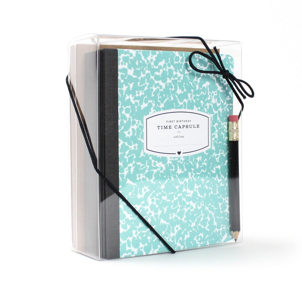 Image of First Birthday Time Capsule Card Teal - Inklings Paperie, Blue Black