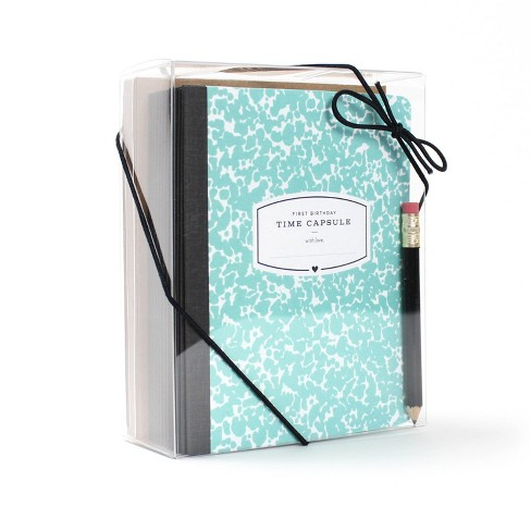 First Birthday Time Capsule Card Teal - Inklings Paperie - image 1 of 6