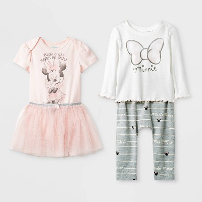 Baby Girls' 4pk Disney Minnie Mouse Top And Bottom Set - 0-3M