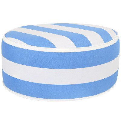 Sunnydaze Indoor/Outdoor All-Weather, Water-Resistant Inflatable Blow Up Ottoman Pouf, Beach-Bound Stripe
