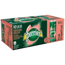 Perrier Sparkling Natural Mineral Water Pink Grapefruit - 10pk/8.45 fl oz Cans